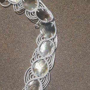 handmade Accessories - Vintage White Satin & natural shell macrame belt